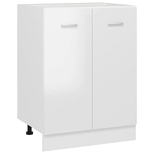 Cigopx Armario Inferior Cocina aglomerado Blanco Brillo 60x46x81,5 cm