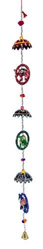 Rastogi artesanías indio para colgar en puerta étnico Kalamkari pintadas a mano elefantes juntos en una pulsera de cuerda con chhatri juntos de cuerda con cuentas y un latón Bell Decoración de Navidad