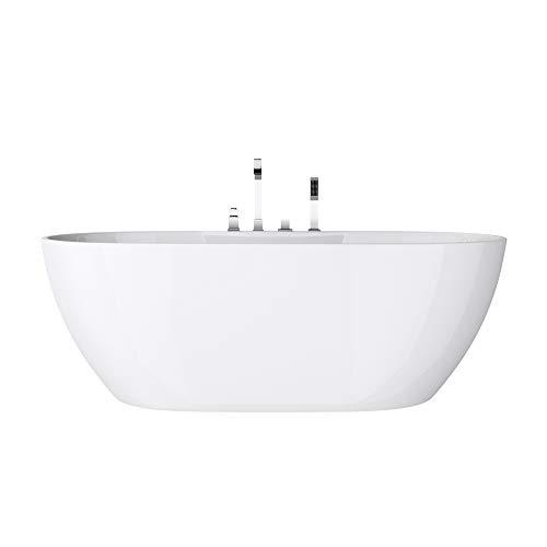 doporro Bañera independiente diseño Vicenza605 170x80x60cm bañera acrílica en blanco con válvula de desagüe rebosadero y conexiones - DIN
