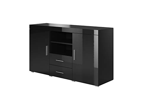 Muebles Bonitos   Aparador Moderno Roque   Ancho 140cm x Alto 80 cm x Profundo 40 cm   Mueble de Melamina Brillo   Color Negro