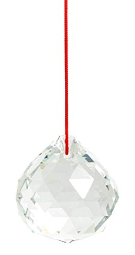 TrifyCore - Colgante de prismas con bola de cristal de 40 mm, atrapaluz de diseño feng shui, colgante de decoración con bola de prismas facetados, color transparente