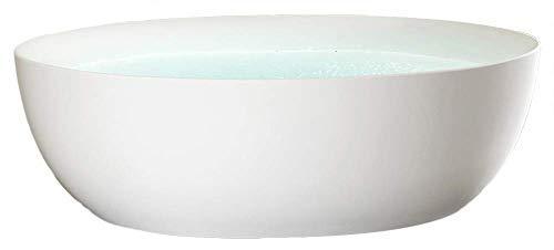 Bañera independiente Terra de acrílico blanco mate – 186 x 88 x 60 cm – Grifo de pie seleccionable, grifo de soporte: sin grifo de pie, sifón: sin sifón