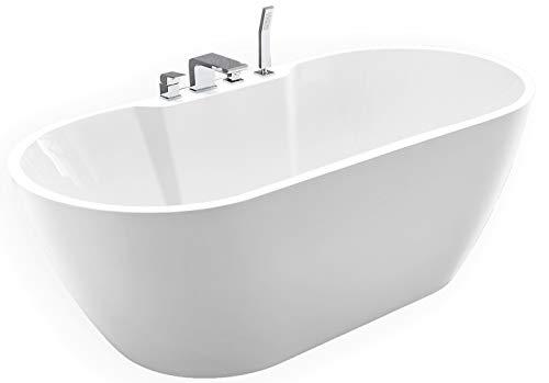 Bañera independiente JAZZ PLUS acrílico blanco – 170 x 80 cm, premontada: con premontaje (5 días hábiles), grifo de bañera: con grifo de bañera 6080 cromado