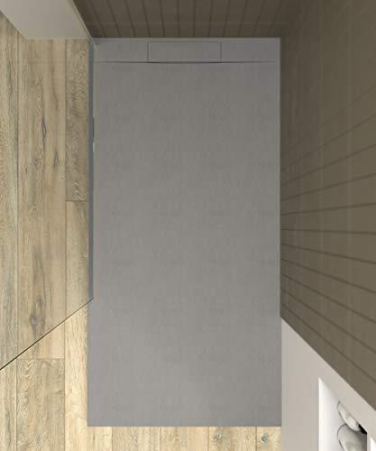 VAROBATH - Plato de ducha de Resina PLASTER Gris - Textura pizarra,...