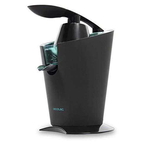 Cecotec Exprimidor Eléctrico de Brazo Zitrus 160 Vita Black. 160 W, Filtro de Acero Inoxidable, 2 Conos Desmontables, Sistema de Extracción Continua, Encendido Automático