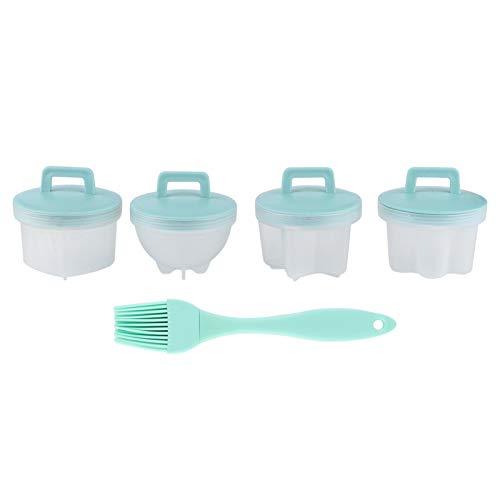 4 piezas de plástico hervidor de huevos molde de pudín de gelatina huevo taza de huevo cocida con cepillo para accesorio de cocina(Verde)