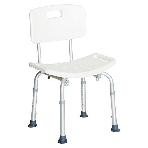 HOMCOM Silla ducha aluminio ayuda baño taburete banqueta regulable...