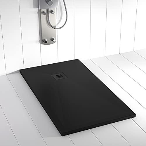 Shower Online Plato de ducha Resina PLES - 80x80 - Textura Pizarra -...