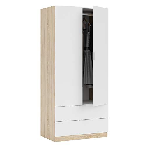 Habitdesign Armario de 2 Puertas y 2 cajones, Acabado en Color Roble Canadian y Blanco Artik, Medidas: 81 cm (Ancho) x 180 cm (Alto) x 52 cm (Fondo)