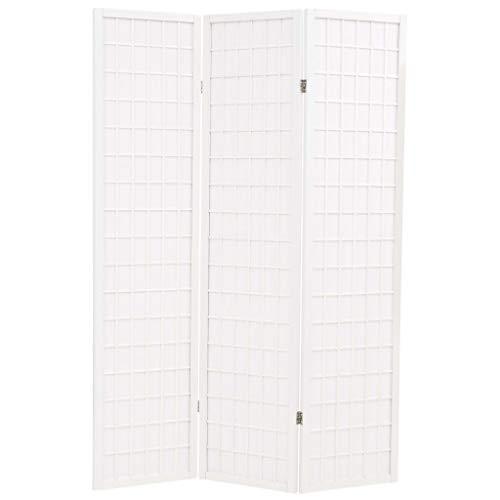 vidaXL Biombo Plegable 3 Paneles Estilo Japonés 120x170cm Blanco...