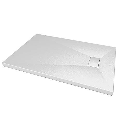 Essence ArredoBagno Plato de ducha de cristal ultrafino de fibra de...