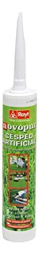 Rayt 1315-13 Novopur Cartucho de Adhesivo monocomponente de poliuretano para césped artificial y también pavimentos de goma, caucho y PVC. Color verde. Secado en 30 minutos, 300ml