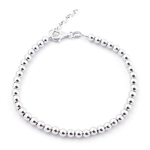 ARITZI - Pulsera Elegante de 18 + 3 cm de Bolas de Plata de Ley con...