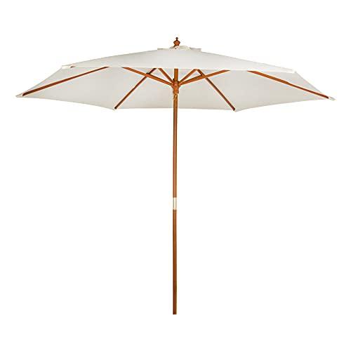 Aktive - Parasol hexagonal Garden 3 metros - Mástil de madera 48 mm - Color vainilla (ColorBaby 53863)