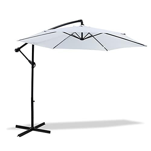 MaxxGarden – Sombrilla de jardín con brazo descalzado, diámetro 300 cm, marco lateral, color blanco