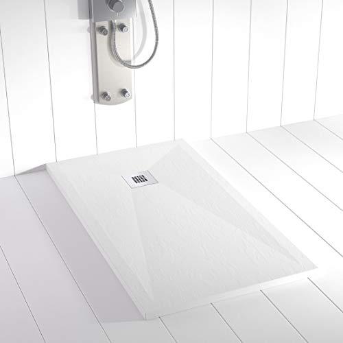 Shower Online Plato de ducha Resina PLES - 70x80 - Textura Pizarra -...