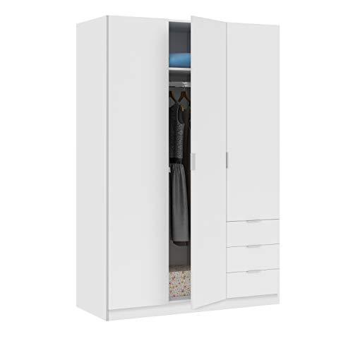 Habitdesign Armario Ropero de Tres Puertas y Tres Cajones, Acabado en Color Blanco Artik, Medidas: 121 cm (Ancho) x 180 cm (Alto) x 52 cm (Fondo)