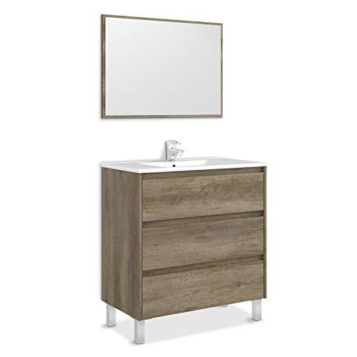 ARKITMOBEL Artikmobel 305050H - Mueble de Baño Dakota con Tres Cajones y Espejo, Modulo Lavabo Acabado en Color Nordik, 80 cm (Largo) x 86 cm (Alto) x 45 cm (Fondo)