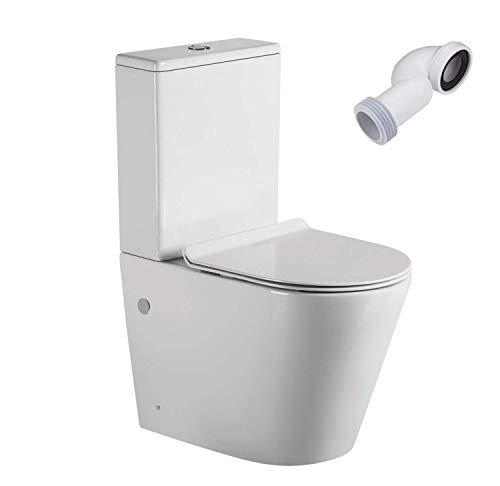 Wc Inodoro Completo Redondo   Inodoro Tanque Bajo con Cisterna y Asiento Extrafino   Adosado a Pared con Salida Dual y Sistema Rimless