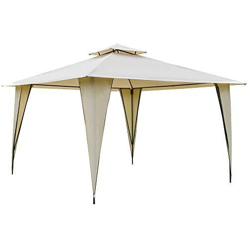 Outsunny Cenador de Jardín 3,5x3,5 m Carpa con Doble Techo y 8 Orificios de Drenaje Marco Metálico para Celebraciones Fiestas Bodas Exteriores Beige