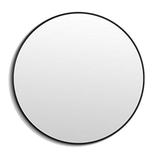 ANYHI Espejo de Pared con Marco Negro, Espejo Redondo de 50 cm para...