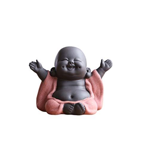 SUPVOX Figura decorativa de bebé Buda riendo, para decoración feng shui o regalo, naranja