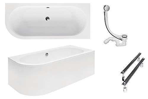 BESCO AVITA - Bañera de 170 x 75 cm, acrílico, juego de delantal, sifón, de esquina, color blanco, diseño moderno, desagüe derecho (bañera + delantal + desagüe + pies)