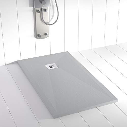 Shower Online Plato de ducha Resina PLES - 90x90 - Textura Pizarra - Antideslizante - Todas las medidas disponibles - Incluye Rejilla Inox y Sifón -Gris RAL 7035