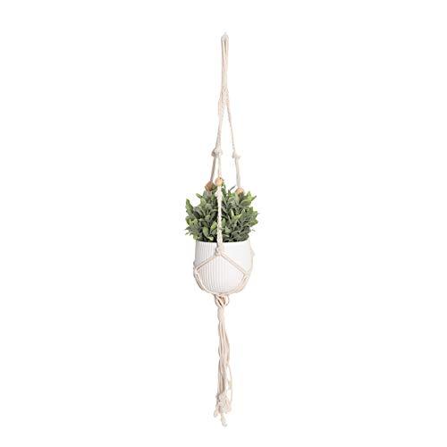 Mr.do Soporte de la Planta Soporte de la Maceta Macrame Cuerda de algodón con Cuentas de Madera para Cubiertas de Patio al Aire Libre para Exteriores diseño escandinavo