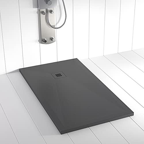 Shower Online Plato de ducha Resina PLES - 90x130 - Textura Pizarra -...