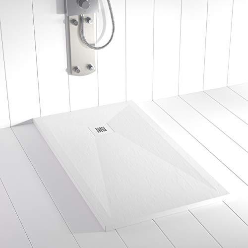 Shower Online Plato de ducha Resina PLES - 70x90 - Textura Pizarra -...