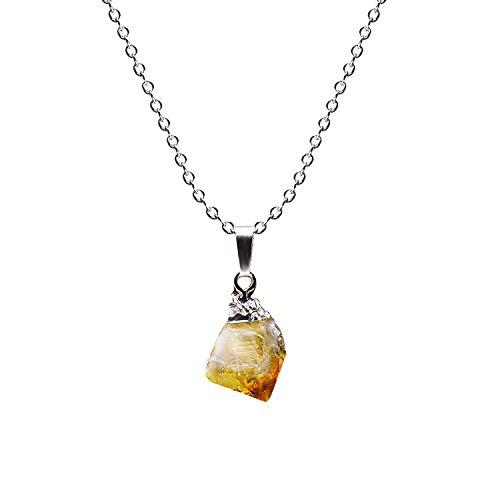 Paialco Natural Rough Rock Raw amarillo Citrino Colgante Collar 45,7...