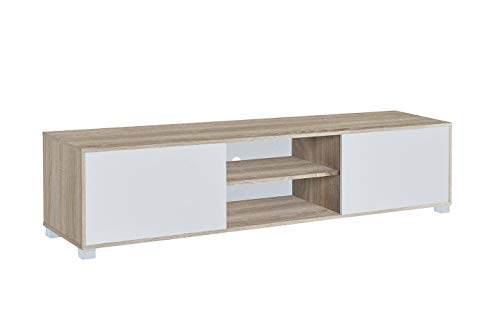MyosHome - Mueble TV Salon Mesa para TV Color Roble y Blanco 180 x 40 x 41 cm Atenea