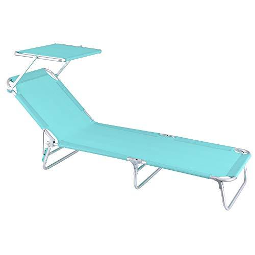 Tumbona Playa Cama con Parasol de 3 Posiciones de Aluminio y textileno...