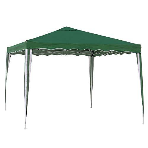 Carpa Cenador Gazebo Plegable con ventilación Superior de Acero de 300x300x250 cm (Verde)