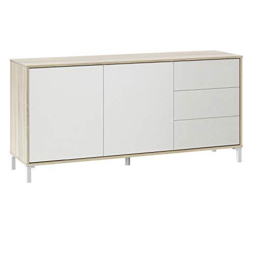 Mueble Aparador, Modelo Brooklyn, Roble Canadian y Blanco Artik, Medidas: 154 cm (Ancho) x 74 cm (Alto) x 41 cm (Fondo)