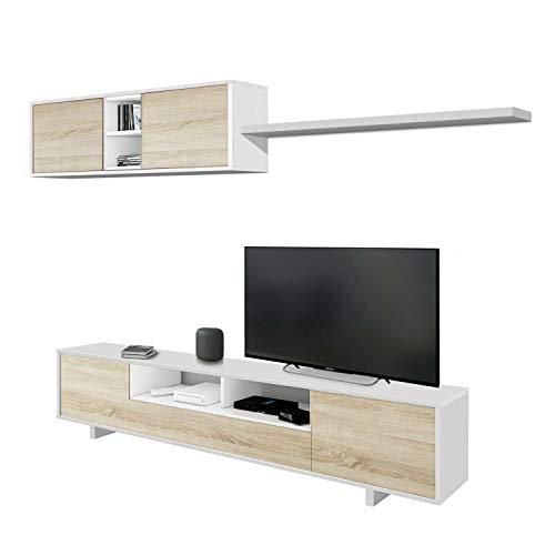 Habitdesign Mueble de Salon Moderno, Modulos Comedor, Modelo Belus, Acabado en Blanco Brillo y Roble Canadian, Medidas: 200 cm (Ancho) x 41 cm (Fondo) x 46 cm (Alto)