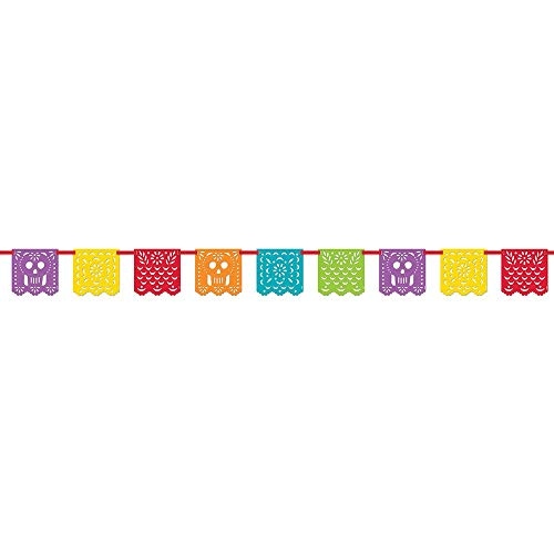 Unique Party 58688 Papel Picado - Bandera de Fiesta mexicana, 3 m