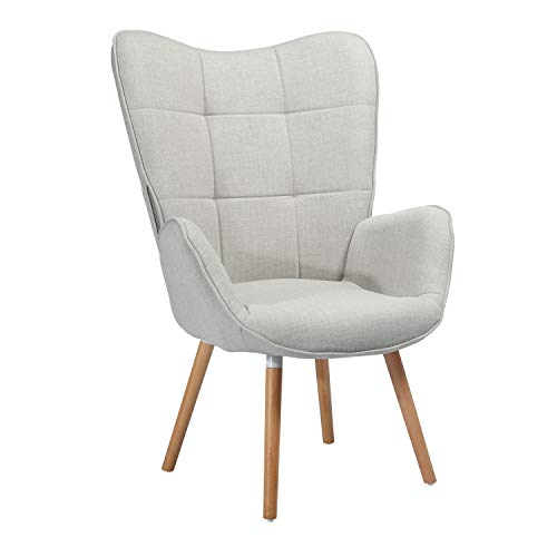 Sillones de salón Butaca nórdica sillón acolchado con Reposabrazos y patas de madera