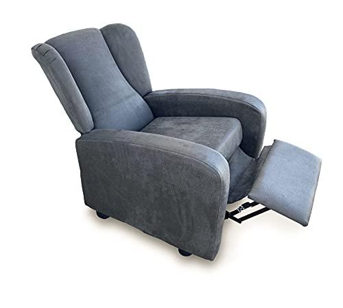 Sillón butaca reclinable tapizado Antimanchas. Sillón con Respaldo reclinable y reposa pies (Gris)