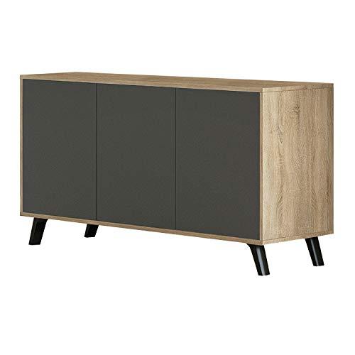 Mueble Aparador 3 Puertas, Buffet para Cocina y Comedor, Modelo Soto, Acabado en Color Roble y Grafito, Medidas: 138 cm (Largo) x 39,5 cm (Fondo) x 70 cm (Alto)