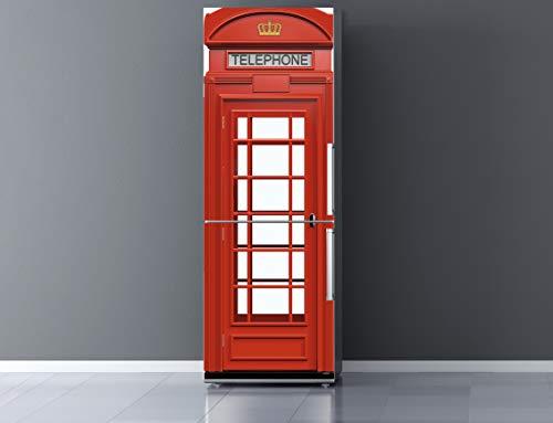Pegatinas Vinilo para Frigorífico Cabina telefonos Londres | Varias Medidas 200x60cm | Adhesivo Resistente y de Fácil Aplicación | Pegatina Adhesiva Decorativa de Diseño Elegante
