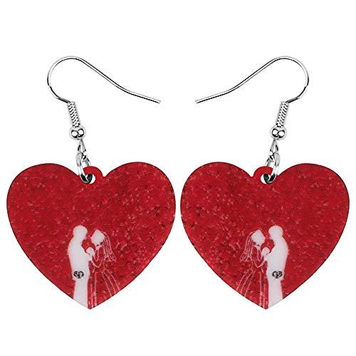 XQAQW Pendientes de día de San Valentín en Forma de corazón de...
