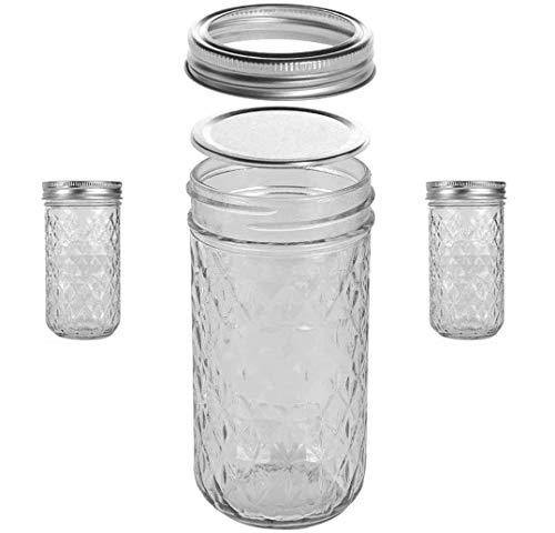 Mason Jars, Tarros de lata de 12 onzas con tapas regulares y bandas,...