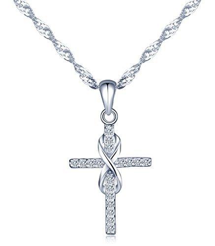Infinito U Collares Plata 925 para Mujer Colgante Cruz y Infinito con...