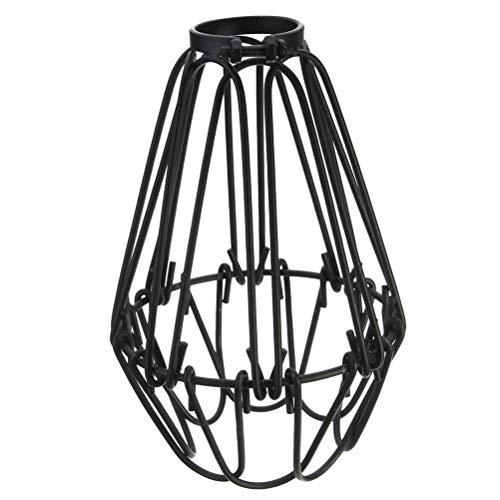 LIOOBO Lámpara Colgante Vintage Alambre de Hierro Jaula de luz Abierta Cerca Flor Cubierta Victoriana lightshade Pantalla (Negro)