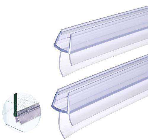 BUZIFU Plástico Mampara Ducha, 2 unids Goma para Mamparas de 100cm, Tiras para Puerta de Ducha, Fabricado en PVC Duro y PVC Suave Ajustable, Junta Mampara Ducha, para Usar a el Cristal de 6 a 8 mm