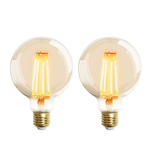 Extrastar Bombilla Edison Vintage 6W LED Retro Decorativa Bombillas Lamparas Blanco Cálido 2200K 540LM G95 E27 Antigua Lámpara Bulbo Filamento No regulable - 2 unidades