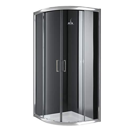 Cabina de ducha semicircular 90 x 90 x 198 cm, cristal transparente de...