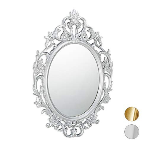 Relaxdays Espejo de Pared Barroco, Decoración de baño o Pasillo, Colgante, Redondo, Plateado